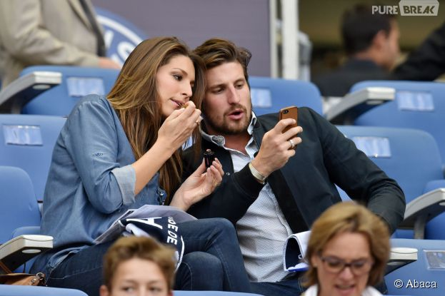 Laury Thilleman et son petit ami Nicolas Tesic lors de la finale de Coupe de France au Stade de France, le 30 mai 2015