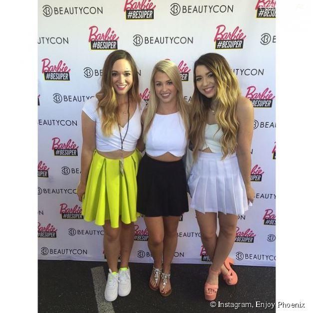 Enjoy Phoenix avec les blogueuses beauté Mia Stammer et Alisha Marieà la BeautyCon de Los Angeles
