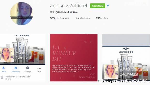 Anaïs Camizuli a atteint le milliion d'abonnés sur Instagram
