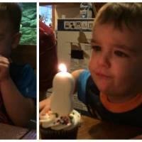 Trop mignon : ce petit garçon a beaucoup de mal à souffler sa bougie d'anniversaire