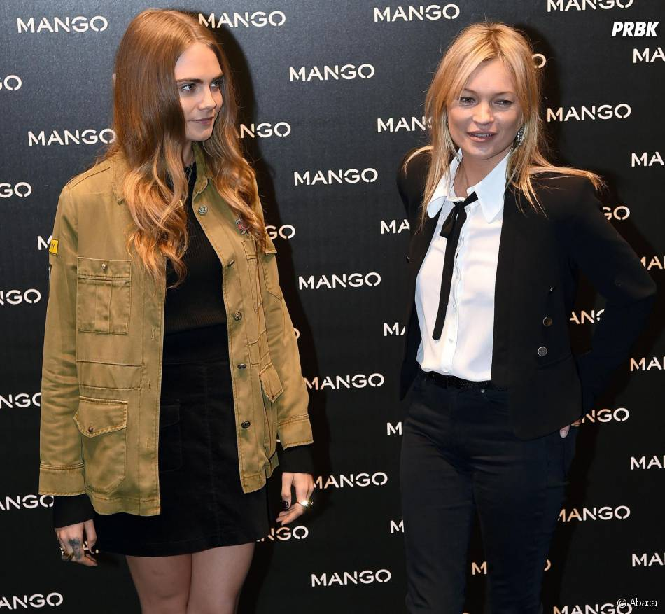 Cara Delevingne et Kate Moss au lancement de la nouvelle boutique Mango à Milan, le 23 septembre 2015