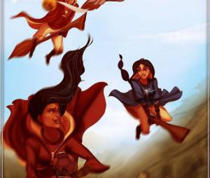 Harry Potter : l'artiste Isaiah Stephens a imaginé Pocahontas, la Belle et la Bête et d'autres personnages Disney dans l'univers de Poudlard