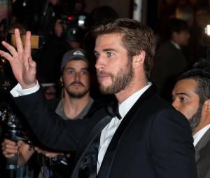 Liam Hemsworth salue les fans à l'avant-première de Hunger Games 4 à Paris le 9 novembre 2015