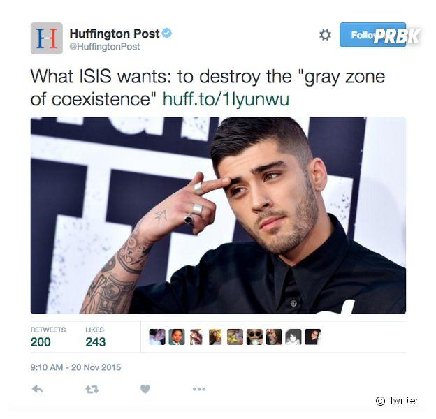 Zayn Malik visage de Daech ? Le fail du Huffington Post fait enrager Twitter