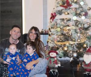 Lionel Messi en compagnie de sa femme et de ses enfants