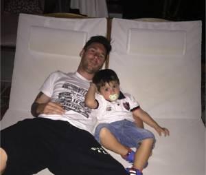 Lionel Messi et son fils Thiago relaxés sur Instagram