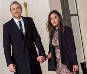 David Guetta et Jessica Ledon en couple à l'Elysée pour un dîner en présence du Président cubain Raul Castro, le 1er février 2016
