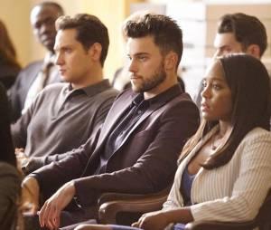 How To Get Away with Murder saison 2 : Asher (Matt McGory), Connor (Jack Falahee) et Michael (Aja Naomi King) sur une photo