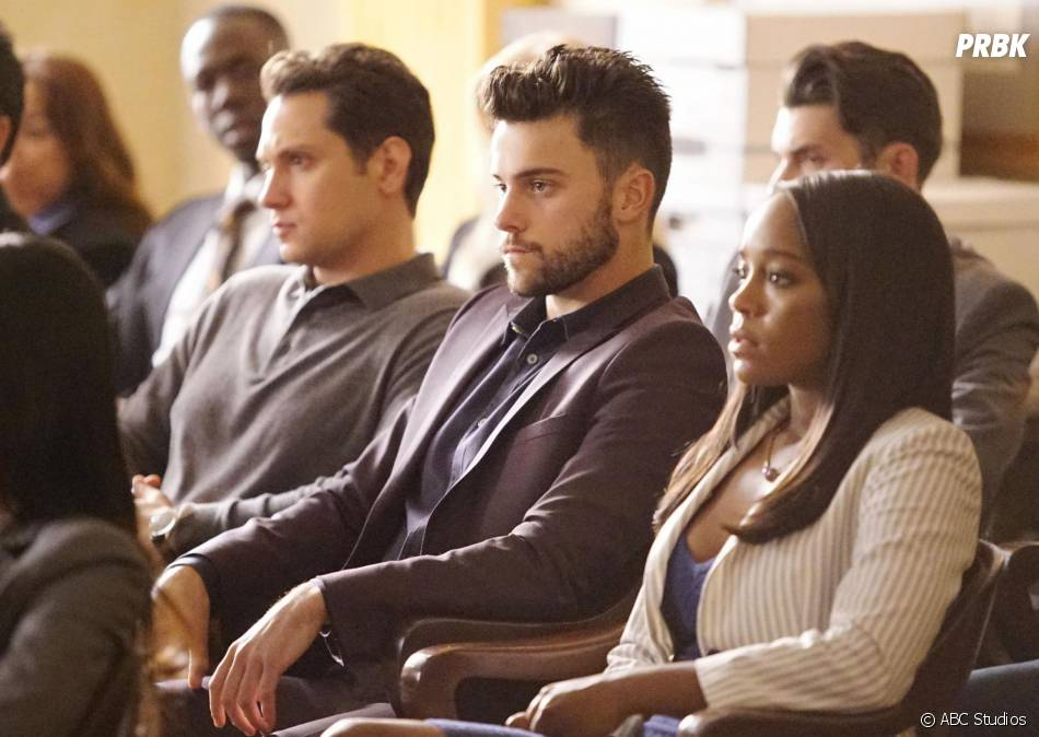 How To Get Away with Murder saison 2 : Asher (Matt McGory), Connor (Jack Falahee) et Michael (Aja Naomi King) sur une photo