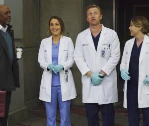 Grey's Anatomy saison 12, épisode 21 : Richard (James Pickens Jr), Jo (Camilla Luddington), Owen (Kevin McKidd) et Meredith (Ellen Pompeo) sur une photo