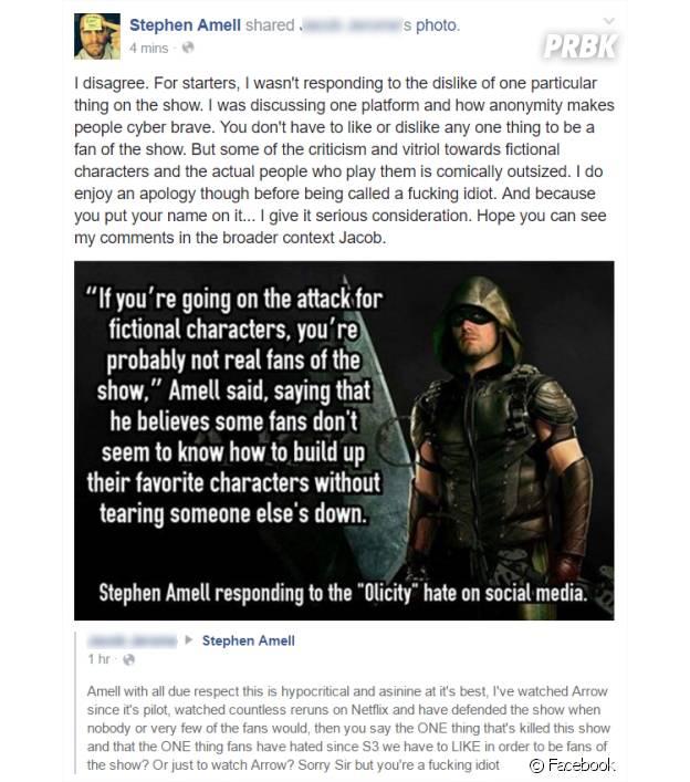 Stephen Amell (Arrow) répond aux insultes d'un fan sur Facebook