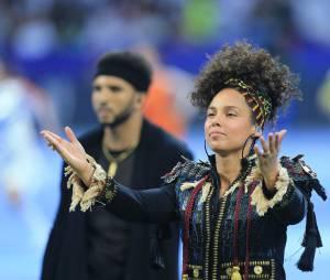 Alicia Keys sans maquillagelors de la cérémonie de la finale de football de la Ligue des Champions 2016