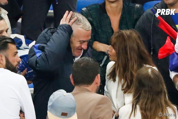 Didier Deschamps retrouve sa femme après le match France-Islande le 3 juillet 2016
