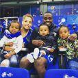 Blaise Matuidi retrouve sa femme  et ses enfants après le match France-Islande le 3 juillet 2016