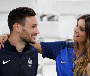 Hugo Lloris et son épouse Marine après le match France-Allemagne le 7 juillet 2016