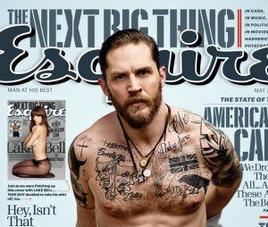 Tom Hardy torse-nu en couverture d'Esquire