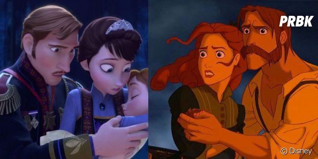 Les parents de la Reine des Neiges (à gauche) et ceux de Tarzan (à droite) sont-ils les mêmes personnages ?