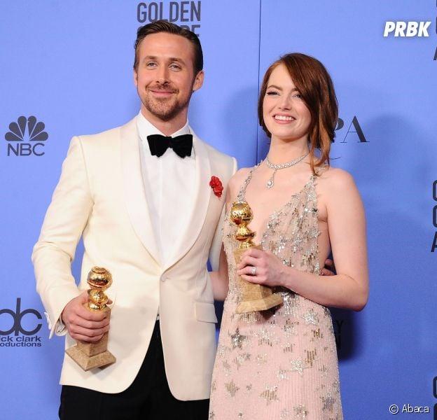 Emma Stone et Ryan Gosling gagnants pour La La Land aux Golden Globes 2017 le 8 janvier à Los Angeles