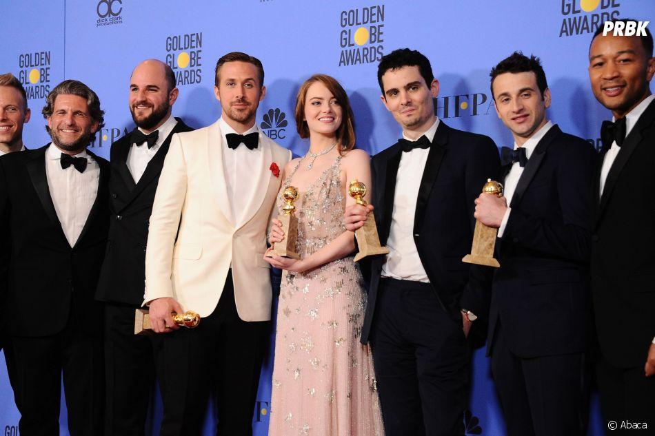 La La Land gagnant aux Golden Globes 2017 le 8 janvier à Los Angeles