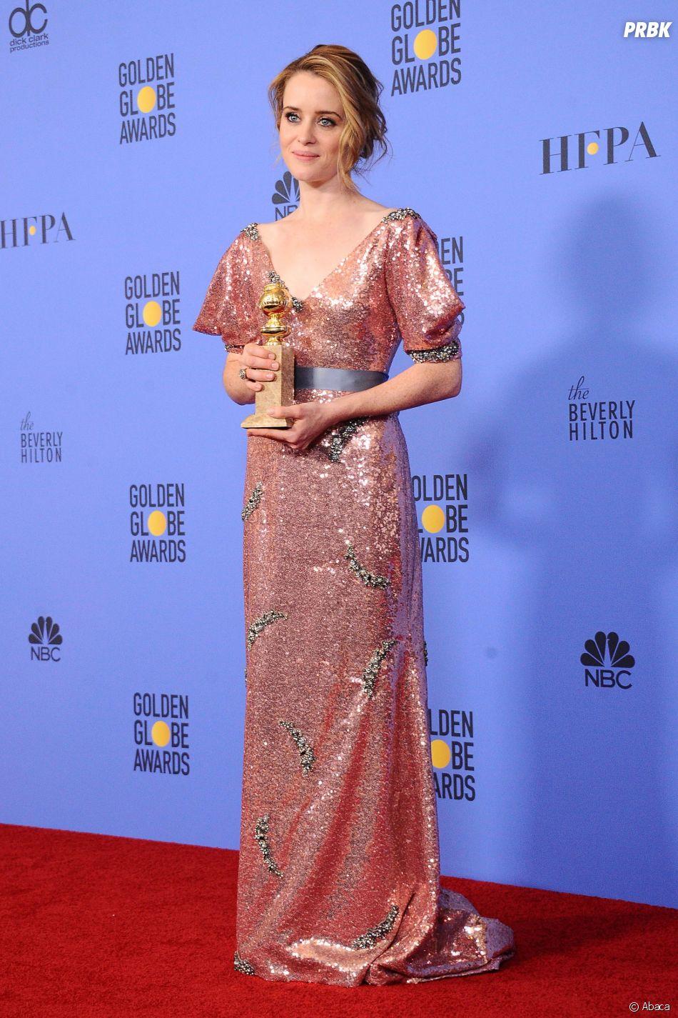 Claire Foy (The Crown) gagnante aux Golden Globes 2017 le 8 janvier à Los Angeles
