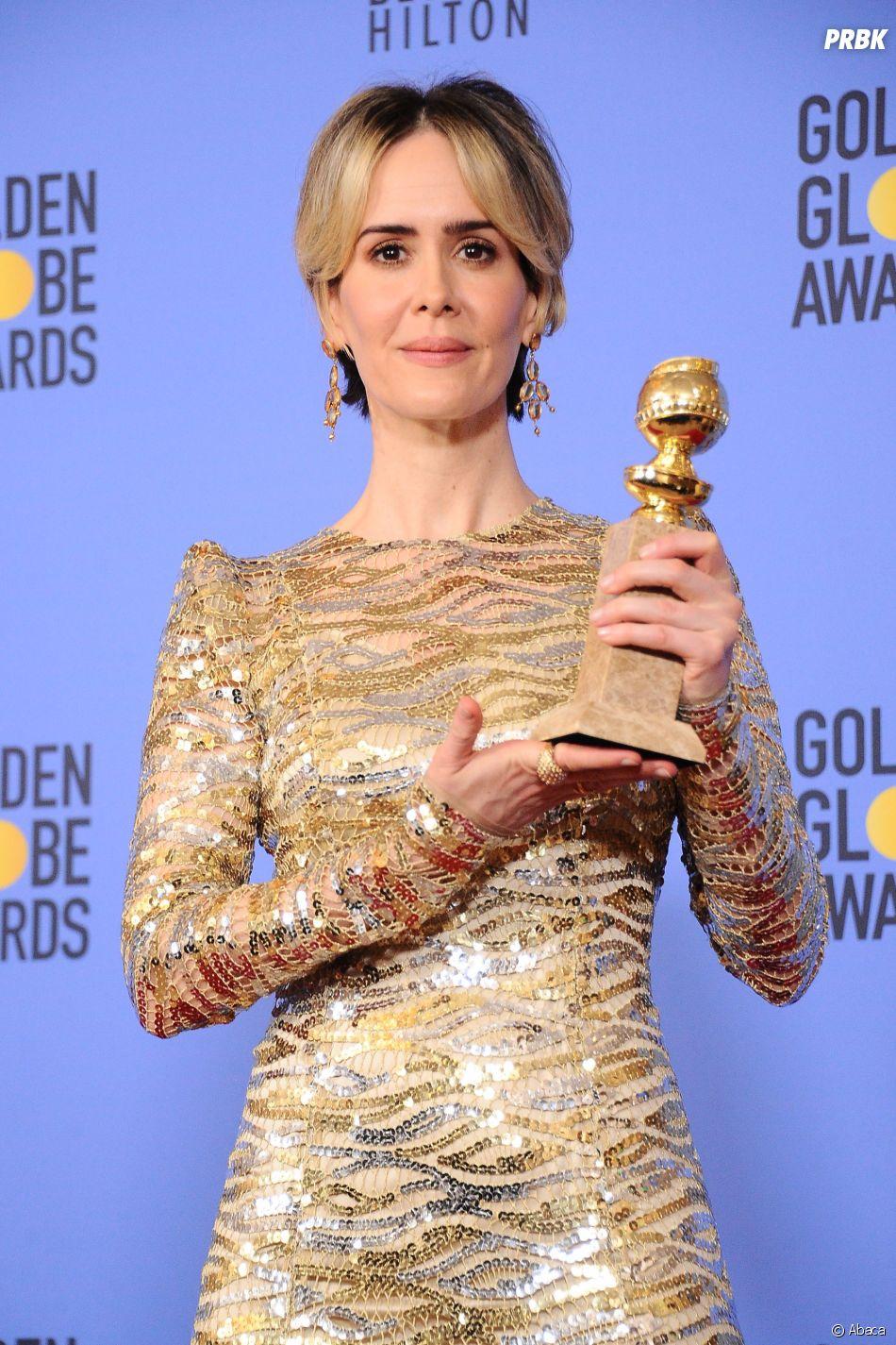 Sarah Paulson gagnante aux Golden Globes 2017 le 8 janvier à Los Angeles