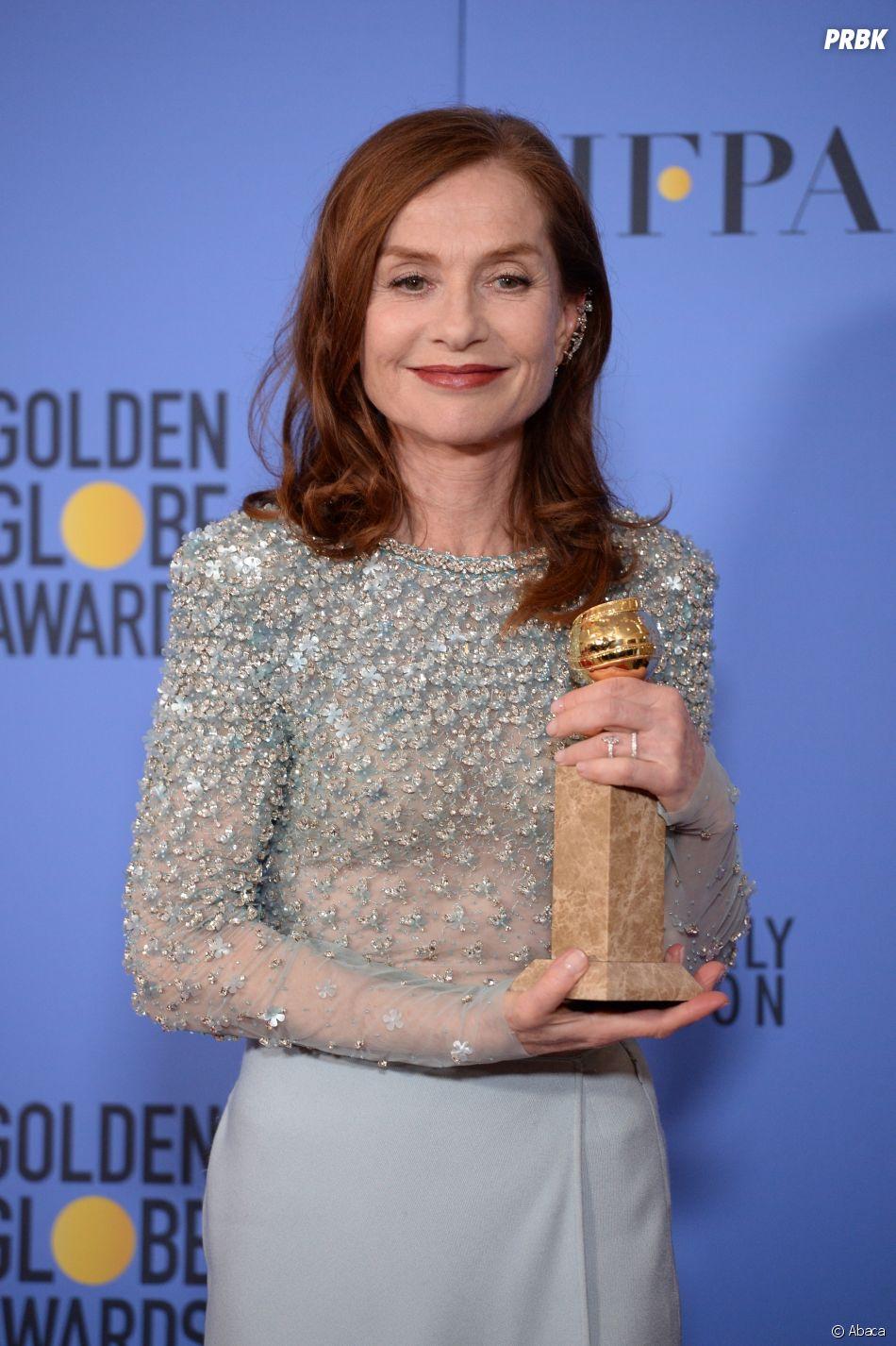 Isabelle Hupert gagnante aux Golden Globes 2017 le 8 janvier à Los Angeles