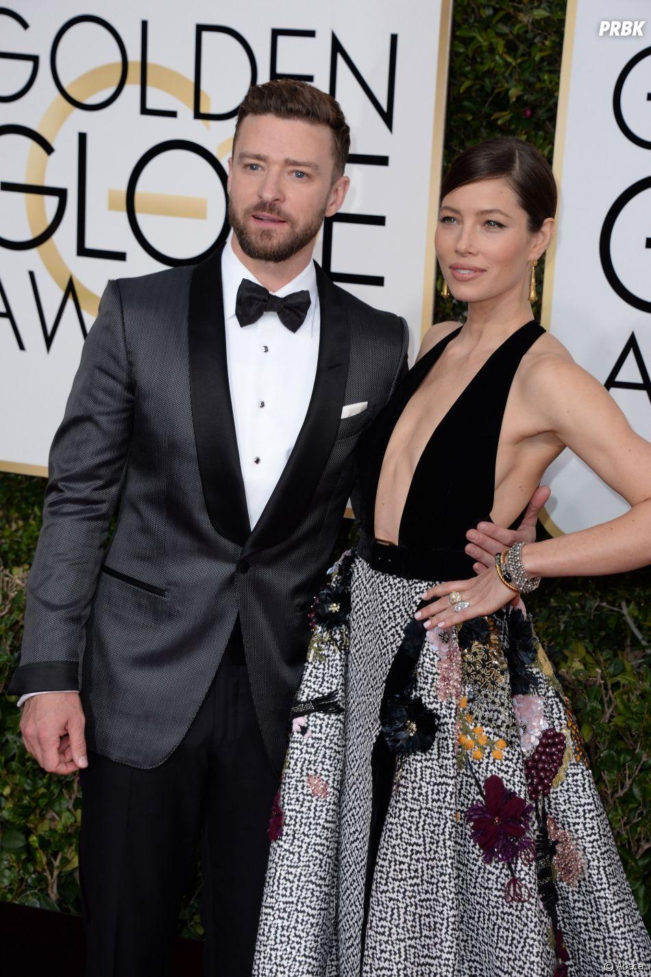 Justin Timberlake et Jessica Biel sur le tapis-rouge des Golden Globes 2017 le 8 janvier à Los Angeles