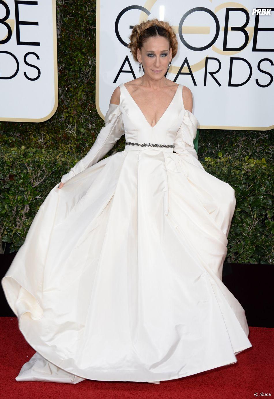 Sarah Jessica Parker sur le tapis-rouge des Golden Globes 2017 le 8 janvier à Los Angeles