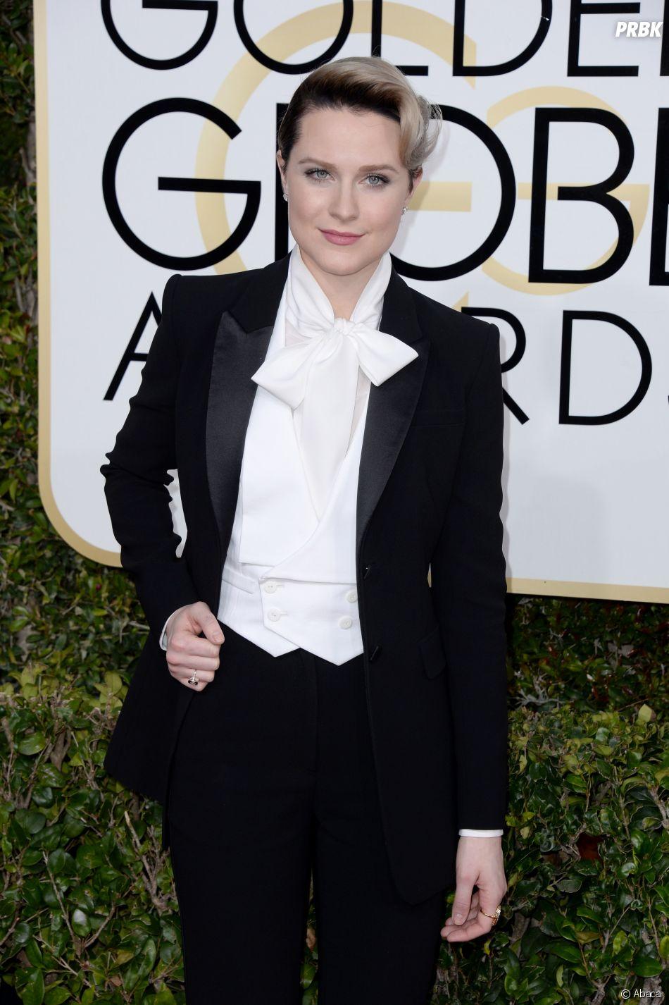 Evan Rachel Wood sur le tapis-rouge des Golden Globes 2017 le 8 janvier à Los Angeles