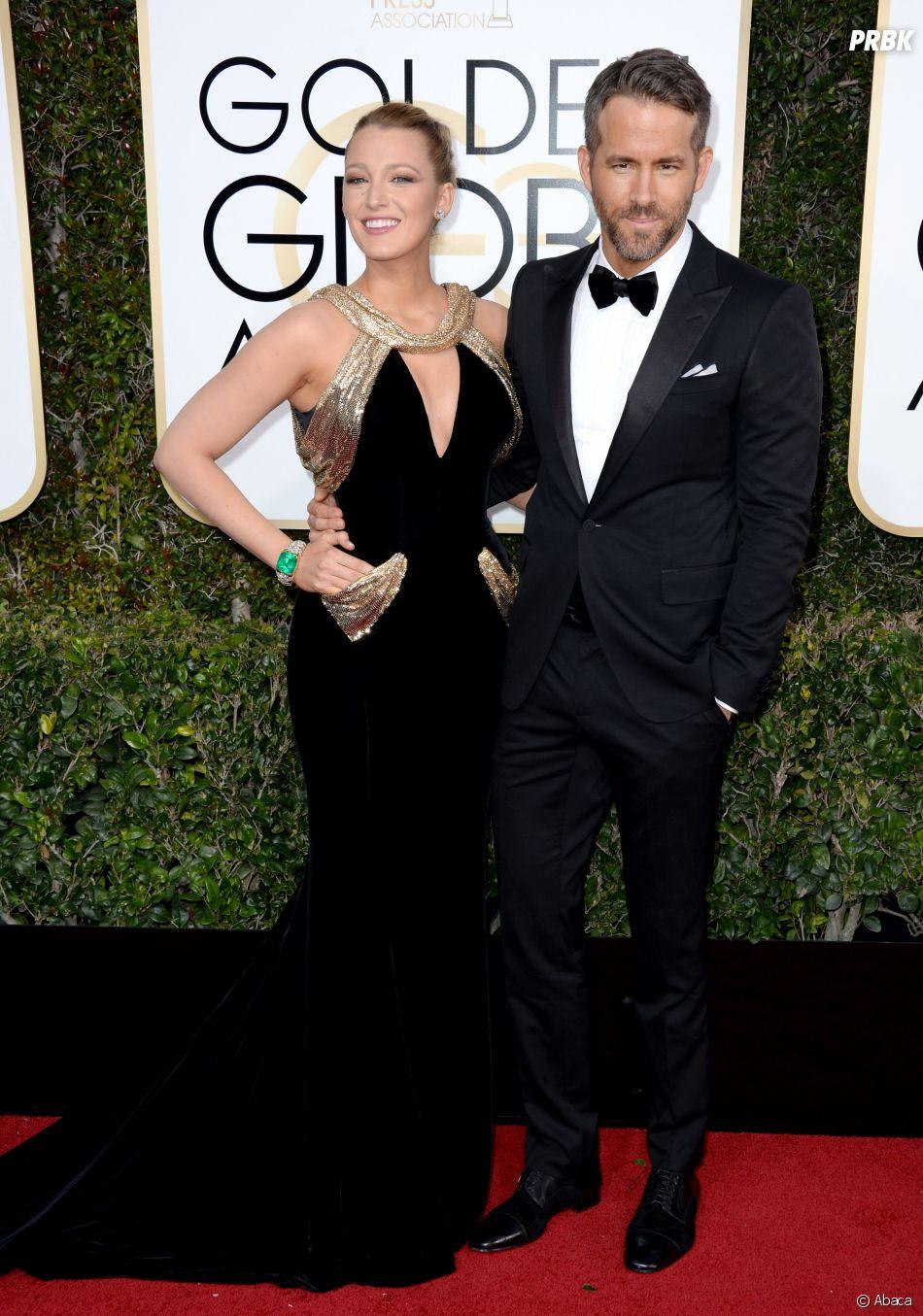 Blake Lively et Ryan Reynolds sur le tapis-rouge des Golden Globes 2017 le 8 janvier à Los Angeles