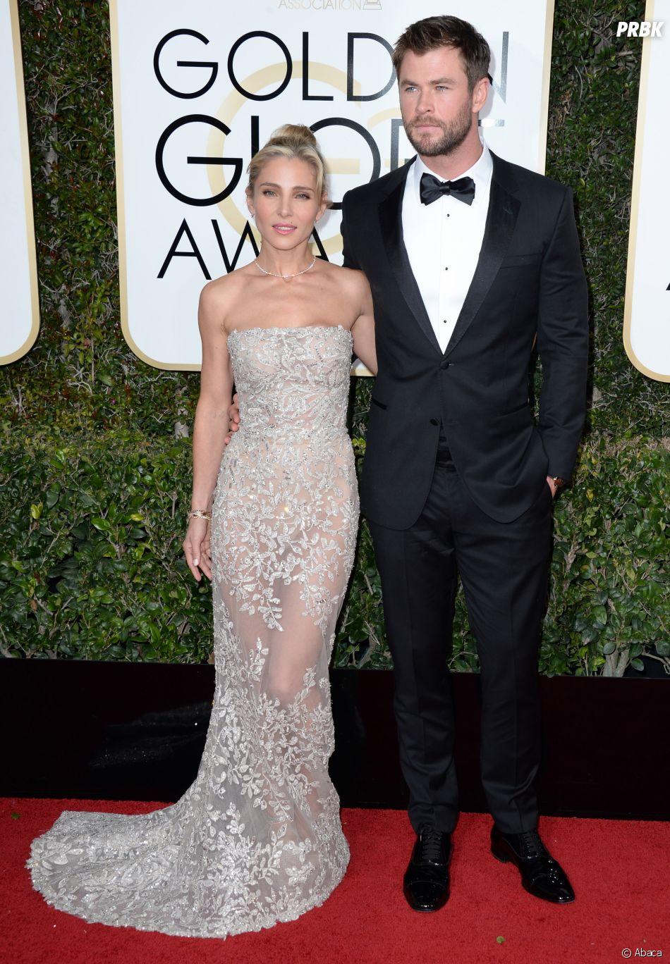Chris Hemsworth et Elsa Pataky sur le tapis-rouge des Golden Globes 2017 le 8 janvier à Los Angeles