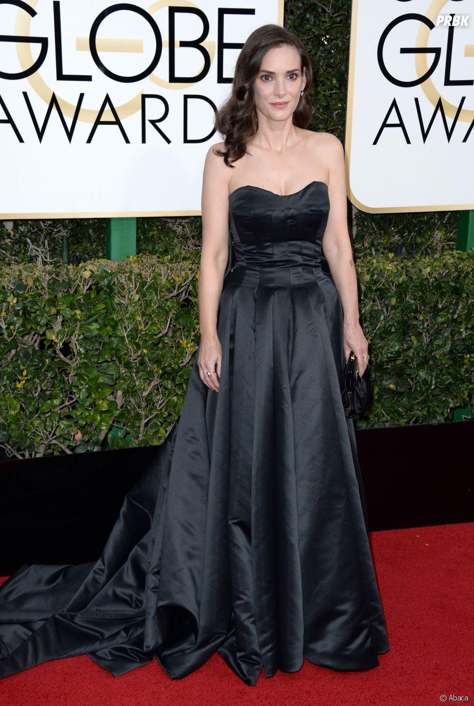 Winona Ryder sur le tapis-rouge des Golden Globes 2017 le 8 janvier à Los Angeles