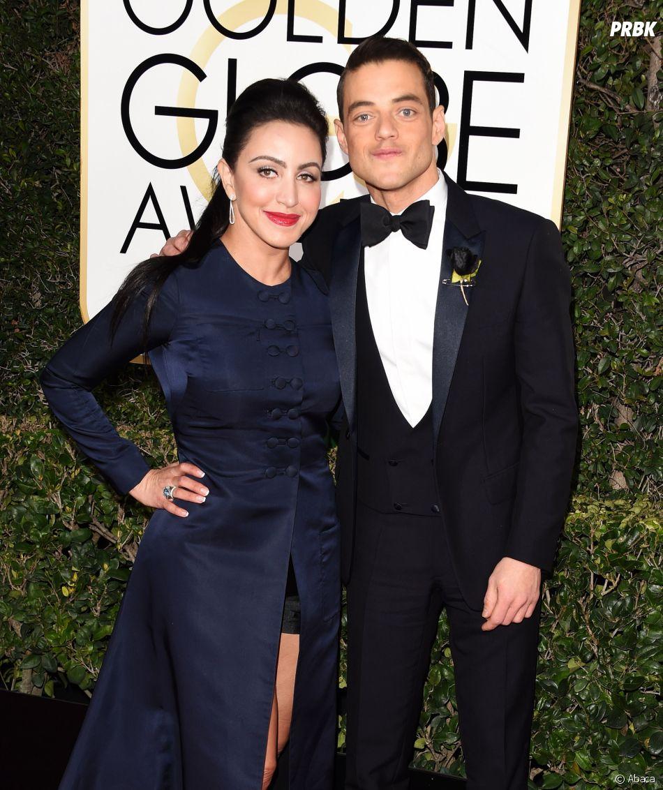 Rami Malek et sa femme sur le tapis-rouge des Golden Globes 2017 le 8 janvier à Los Angeles
