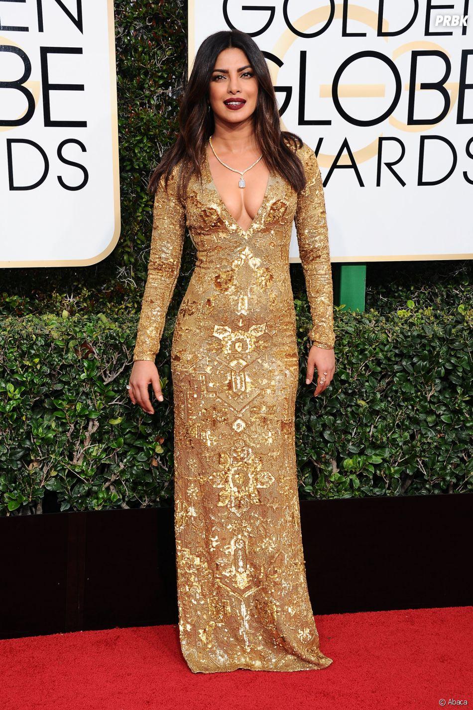 Pryianka Chopra sur le tapis-rouge des Golden Globes 2017 le 8 janvier à Los Angeles