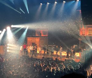 Bigflo & Oli entourés de Kev Adams, Gad Elmaleh, Squeezie et Mcfly & Carlito sur scène