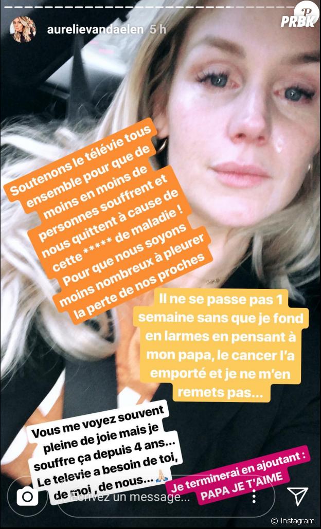 Aurélie Van Daelen en larmes sur Instagram Stories en évoquant la mort de son père