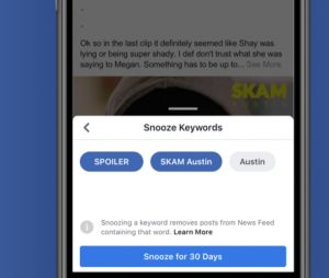 Facebook : Keyword Snooze bientôt disponible partout
