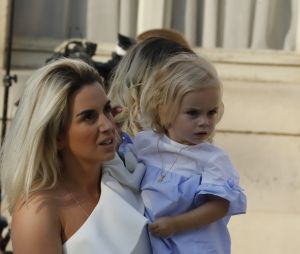 Erika Choperena et sa fille Mia à l'Elysée après la victoire des Bleus le 16 juillet 2018