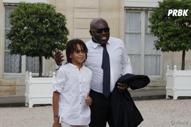 Wilfrid Mbappé et son fils Ethan à l'Elysée après la victoire des Bleus le 16 juillet 2018