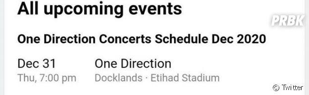 One Direction en concert en 2020 en Australie ?
