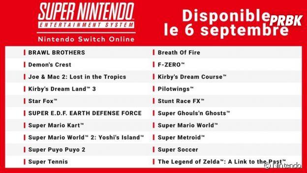La liste des 20 premier jeux Super NES adaptés sur Nintendo Switch