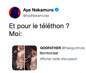 Aya Nakamura réagit avec humour à son malaise au Téléthon sur Twitter