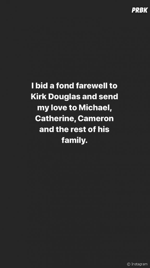 Sharon Stone rend hommage à Kirk Douglas