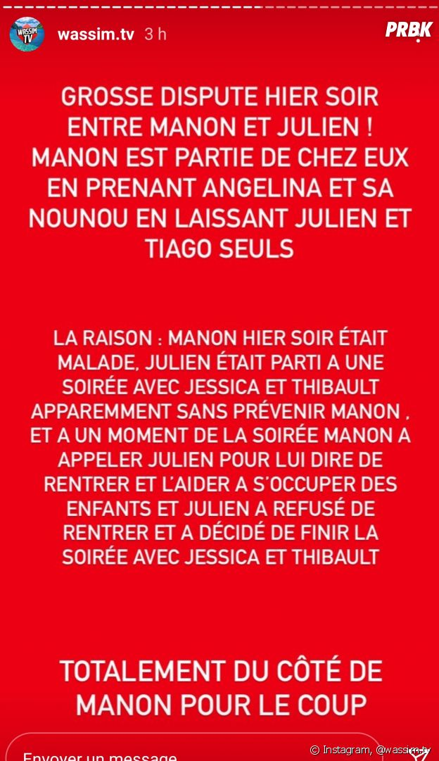 Julien Tanti et Manon Tanti des Marseillais séparés ou en break ? Elle serait partie de leur maison