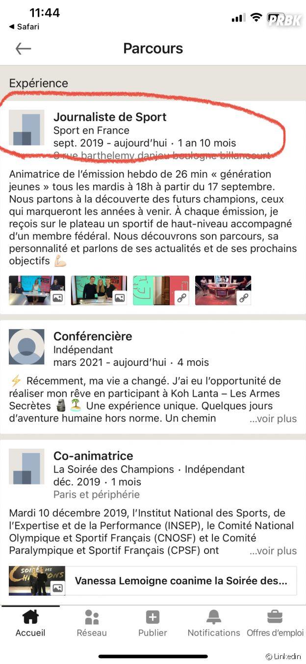 Koh Lanta 2021 : la page Linkedin de la gagnante Maxine Eouzan