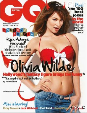 Olivia Wilde pose avec un soutien-gorge Victoria's Secret en couverture du GQ UK du mois d'avril 2012