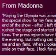 Madonna s'explique sur son site officiel !