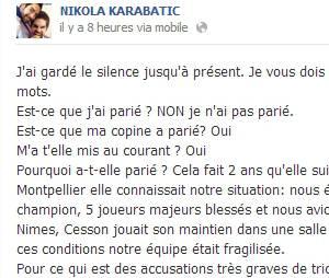 Nikola Karabatic s'explique sur Facebook sur l'affaire des paris truqués