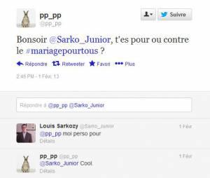 Louis Sarkozy se prononce pour le mariage gay sur Twitter.