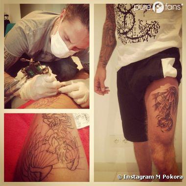 Brice tatoue un phoenix sur la cuisse de M Pokora